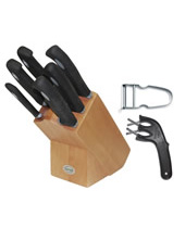 Black Handle Knife Block (6 pcs) with Edgemaker and Castor Peeler