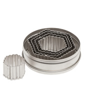 Fluted Hexagon Cutter Set 5 Pieces, Stainless Steel