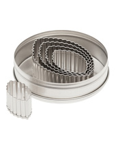 Fluted Football Cutter Set 5 Pieces, Stainless Steel