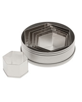 Plain Hexagon Cutter Set 6 Pieces, Stainless Steel