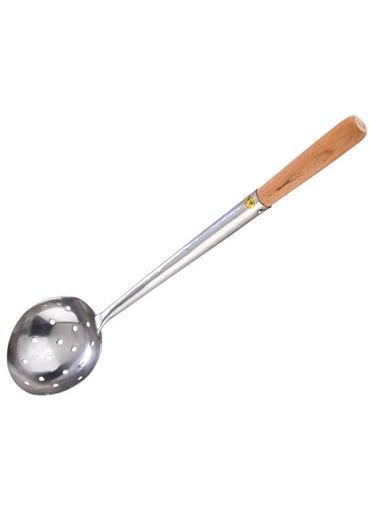Chinese Ladle 8 OZ, 340mm Wood Handle, Perforated, S/S